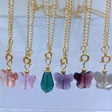 6 Gold Plated Chain Necklace Quartz teardrop & Butterfly Pendant beautiful 17.5""