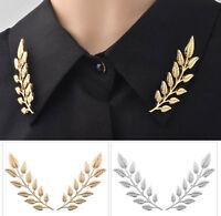 Women Lady Gothic Punk Retro boho Leaf Stud Party Collar Chain brooch Tip Pin