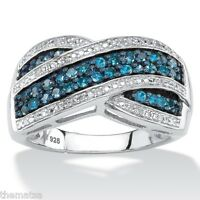 BLUE AND WHITE DIAMOND PLATINUM OVER STERLING SILVER CROSSOVER  RING 6 7 8 9 10