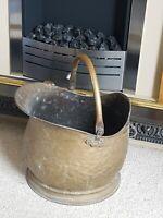 Antique Victorian Brass Hammered Scuttle Coal Bucket  Wood Storage Swing Handle