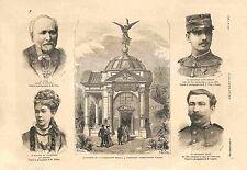 Pavillon de l'Indépendance Belge Exposition d'Anvers Belgique GRAVURE 1885