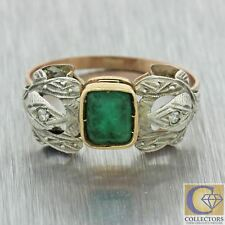 1920s Antique Art Deco Estate Platinum Gold .75ct Emerald Diamond Cocktail Ring