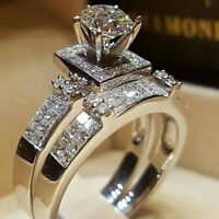 Elegant Women White Sapphire Silver Ring Set Wedding Engagement Jewelry Size5-11