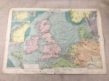 1920 Vintage Map The North Sea Ocean Maritime Steam Ship Routes Large