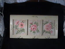 Home Interior Wall Coat/Garment Wood Hanger Three Panel Hand Painted Roses