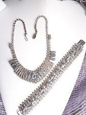Vintage Rhinestones and Blue/Grey Stones Necklace & Matching Bracelet Set