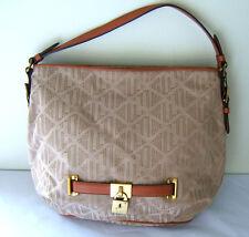 NEW! LAUREN Ralph Lauren Signature Cotton Jacquard Brown Tan Shoulder Bag $235