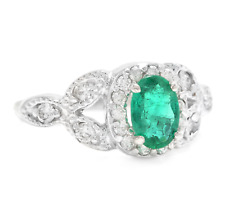 1.15Ct Natural Emerald & Diamond 14K Solid White Gold Ring