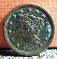 Very Nice Better Grade 1854 Braided Hair Large Cent