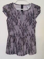New Women's H&M Stretch Floral Lace Beige & Black Cap Sleeve Top Shirt Size XS