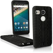 Nero Silicone Gomma Custodia Pneumatico per LG Nexus 5X Case Cover + Pellicola