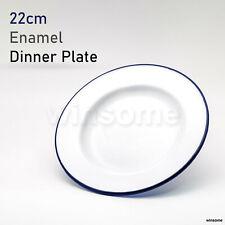 22 Cm Traditional White Enamel Dinner Blue Border Edge Rim Plate Roasting Baking