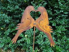Gartenstecker Rost 2 Tauben aus Metall, 57 cm hoch, Vogel Herz, Hochzeit, Liebe