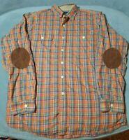 Polo Ralph Lauren Button Front Plaid Shirt Elbow Patches Mens Large Flannel