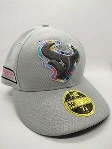 NFL Houston Texans Crucial Catch Cancer Hat New Era 59Fifty Fitted 7 1/4 NEW