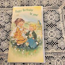 Vintage Greeting Card Get Well Cute Kids Birthday Flowers