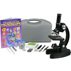 AMSCOPE-KIDS 120X-1200X Educational Metal Arm Starter Compound Microscope Kit +