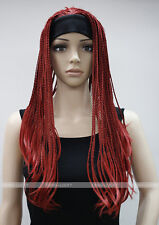 Excellent Hot Red Long unique Man-made braids 3/4 half wig with headband FTLG024