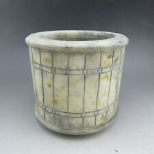 Chinese, jade, literati collection, hand carving, barrel,brush pot A9