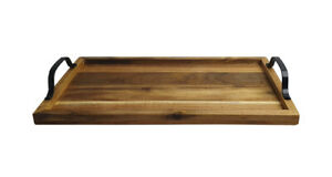 Table Wooden Serving Tray Tea Coffee Acacia Breakfast Bed Gift Present 44x24cm