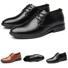 Men's Work Office Lace up Flats Breathable Walking Low Top Faux Leather Shoes L