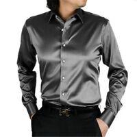 Gray Slim Men's Wedding Shirts Long Sleeve Silk-Satin Prom Groom Men's Shirts