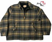 Vintage 60s 70s Woolrich Wool Sherpa Hunting Coat Plaid Field Jacket Mens 2 XL