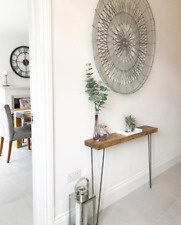 rustic console table with hairpin legs