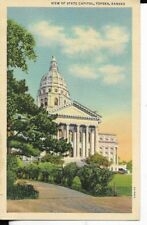 view of state capitol,topeka kansas postcard 1940s era