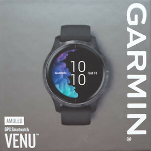Garmin Venu Amoled GPS Smart Watch - Black with Slate Stainless Steel Bezel