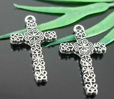 Free Ship 20Pcs Tibetan Silver  Cross Charms Pendant 26.5x15mm