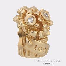Authentic Pandora 14kt Gold Diamond Love Bouquet Bead 750446D