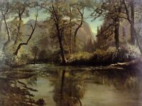 "Art nice Oil painting landscape river Yosemite Valley California canvas 24""x36"""