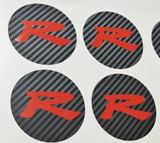 Honda 4 x Carbon Centre Cap Red R Stickers Decal Civic EP3 Type R K20 JDM OEM