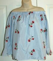 Flores Women's Striped Off the Shoulder Blouse with Emb. Red Flowers Size L