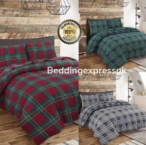 Tartan Checked Flannelette 100% Brushed Cotton Thermal Duvet Cover Bedding set