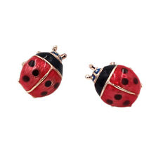 Women Lady Alloy Insect Earrings Wws 2pairs Gold Red Oil Ladybug Ear Stud