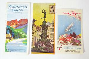 3 Prospekte Italien Reise 1929 / 1930 Venezia San Marco Dolomiten ! (H4