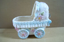 Dickson Ceramic Baby Bassinet Carriage Music Box Player Planter Baby Shower Gift