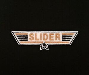 Slider Top Gun Embroidered Patch, Badge Gold Iron on or Sew on