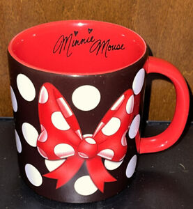 Disney Parks Signature Minnie Mouse Polka Dot 3D Bow Ceramic Coffee Cup Mug