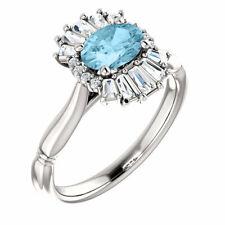Genuine Aquamarine & 1/4 CT Diamond Halo-Style Ring In Platinum