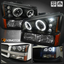 2003-2006 Chevy Silverado Halo LED Projector Headlights Black+Bumper Signal Lamp