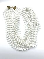 Vintage Necklace Hong Kong ? Plastic Bead Faceted White Multi Strand Torsade A5