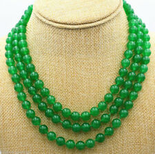 Hot 3 Rows 8mm Green Jade Gemstone Round Beads Necklace 18-20''