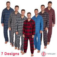 Mens PJ Cotton Yarn Flannel Checked Pyjama Set Chest Pocket Long Sleeve M-XXL