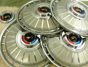 "1962 FORD HUBCAPS 14"" GALAXIE WHEEL COVERS SET OF 4"