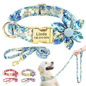 Personalised Dog Collar and Lead Set Floral Nylon ID Name Collar Disc Engraved