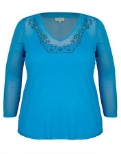 NWT Plus Size Ladies Top / Tunic As Pic Colours Blue  Size 16 (FREE POST)