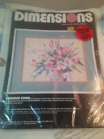 1988 Dimensions Counted Cross Stitch Kit Summer Song Floral 14 by 11 Vintage